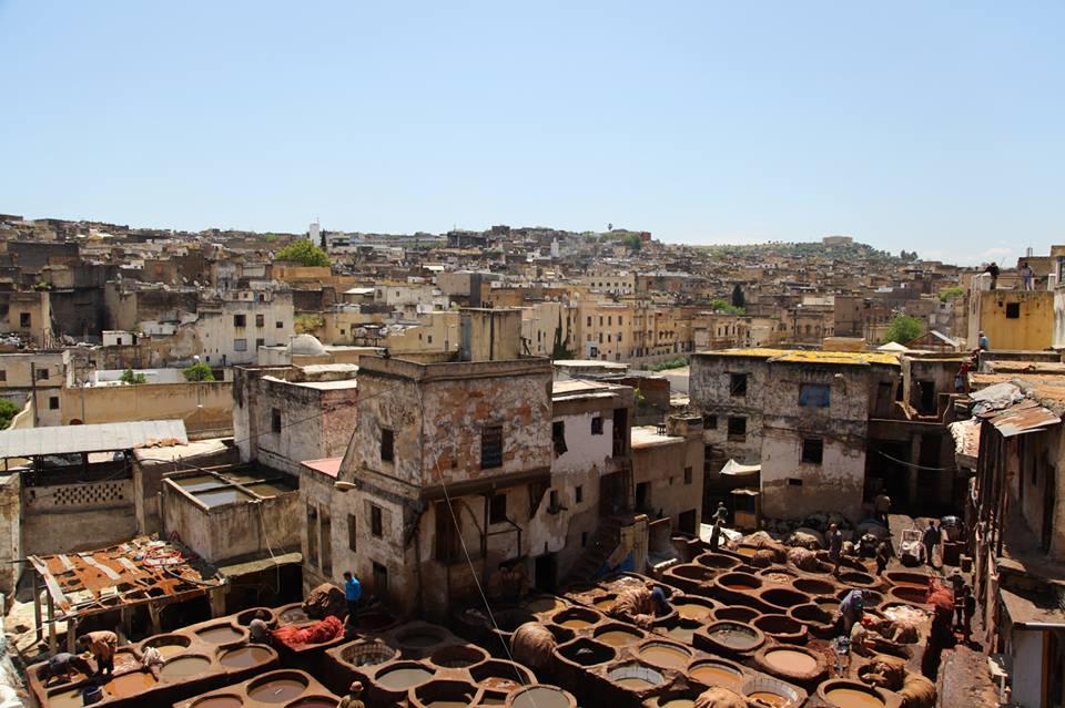 les tanneurs à Fès au Maroc