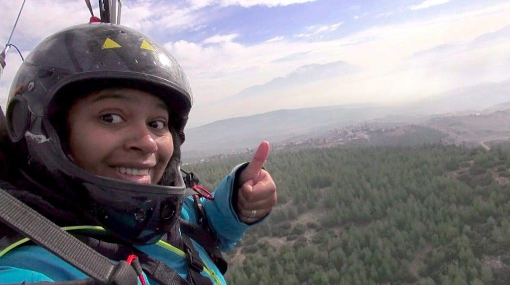 saut en parapente au dessus de Pamukkale
