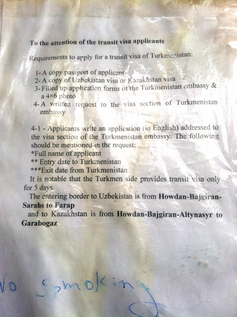 visa du Turkmenistan