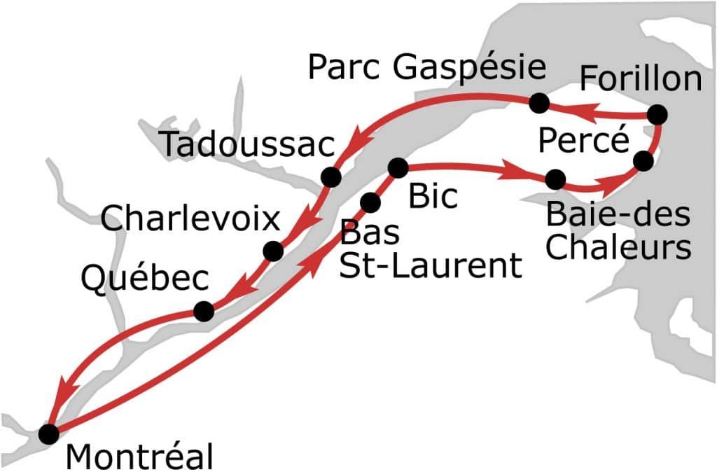 road trip gaspésie itinéraire